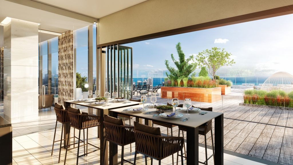 Image of luxury condo amenities and outdoor dining at Vista Tower
