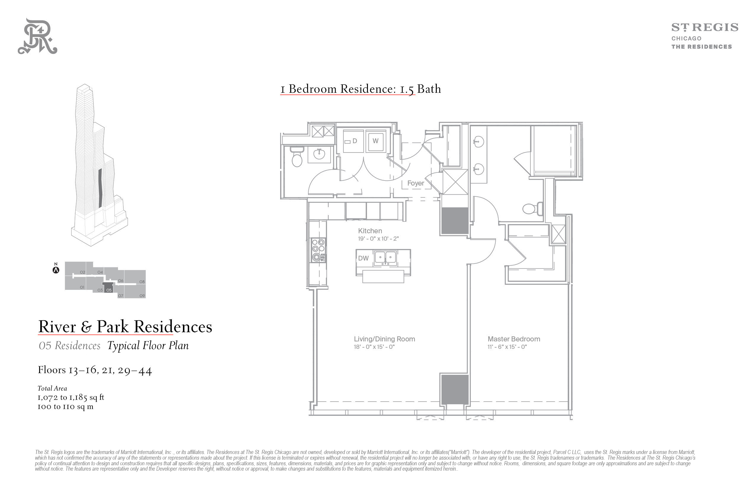 Residence 5 at The St. Regis Chicago. Floor plan.