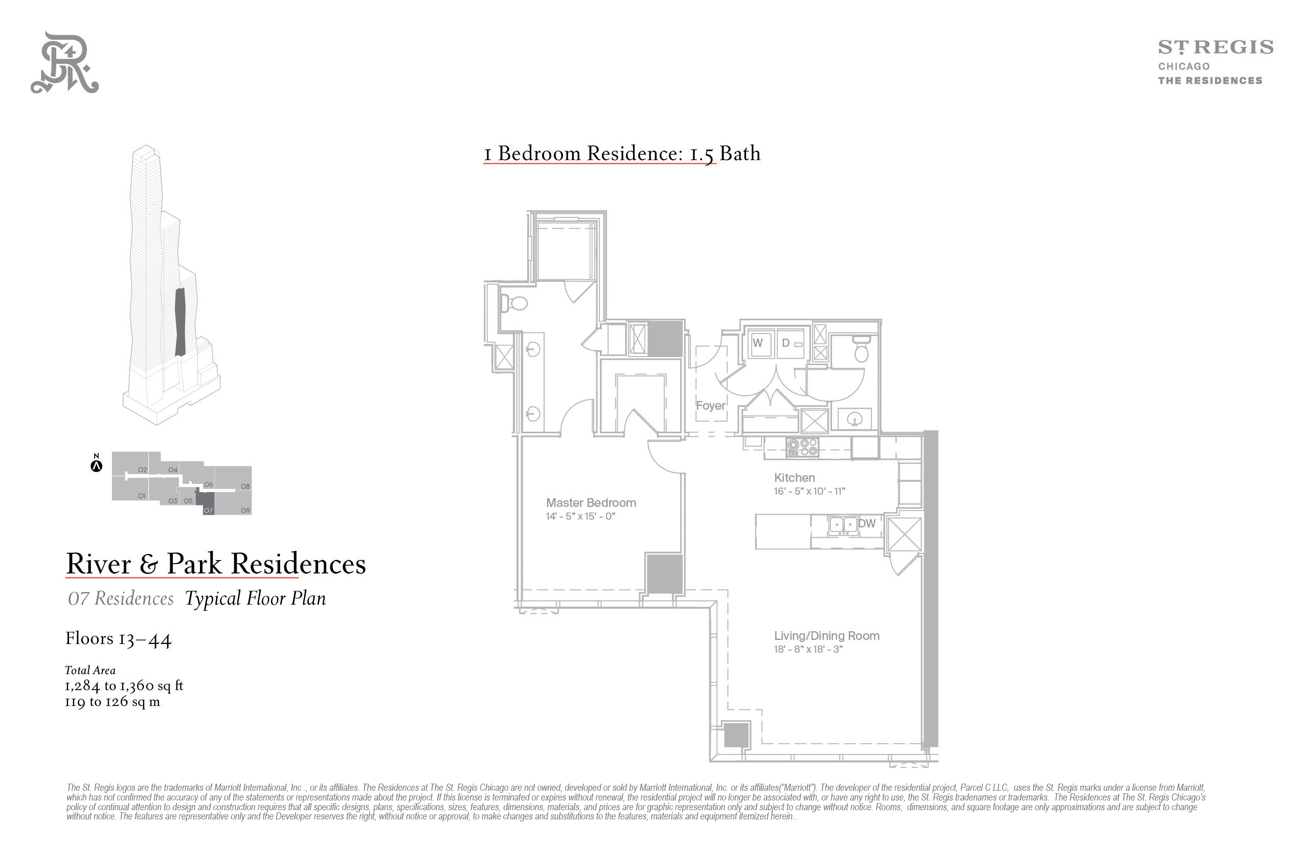 Plan 7 at the St Regis Chicago one bedroom condominium