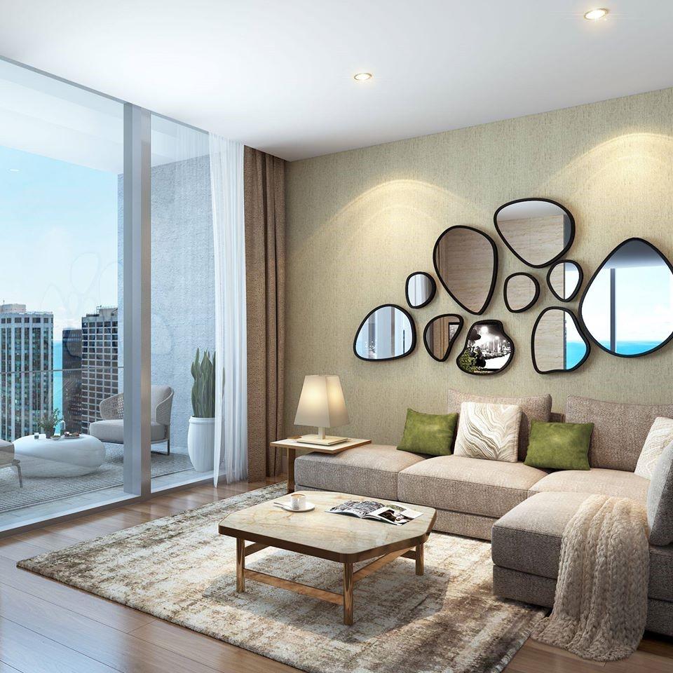 Rendering of living room featuring luxury condo interior design features in Vista Tower