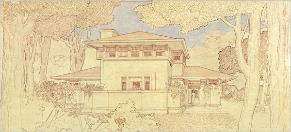 Sketch of building by famous female architect Marion Mahony Griffin