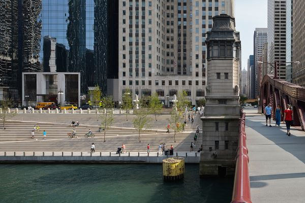 Image of Chicago Riverwalk extension designed by famous female architect Carol Ross Barney