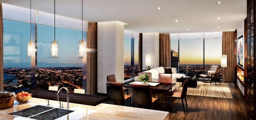 Rendering of finished luxury penthouse after Vista Tower completion date
