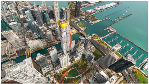 Image of Chicago skyline from above showing Vista Tower's construction progress and completion