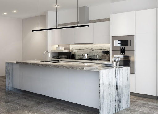 Image of Vista Tower residence's modern kitchen with Gaggenau appliances