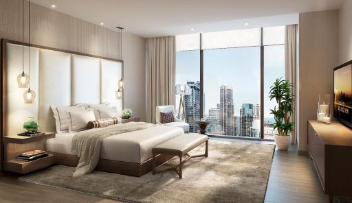 Image of master bedroom in Sky 360 residence of Vista Tower with floor to ceiling windows