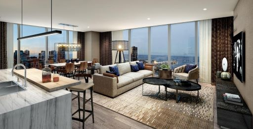 Image of corner Vista Tower residence with open concept kitchen and large living room