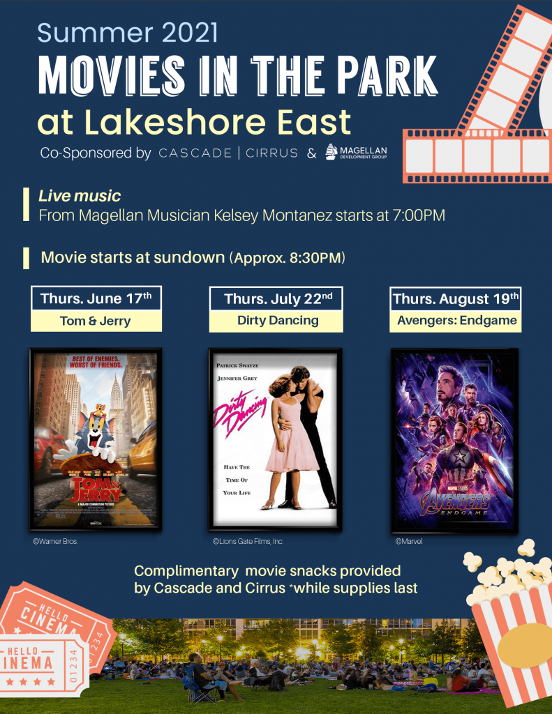 Dark blue bulletin with yellow and white text announcing the upcoming shows at Movies in the Park at Lakeshore East: June 17: Tom & Jerry, July 22: Dirty Dancing, August 19: Avengers: Endgame