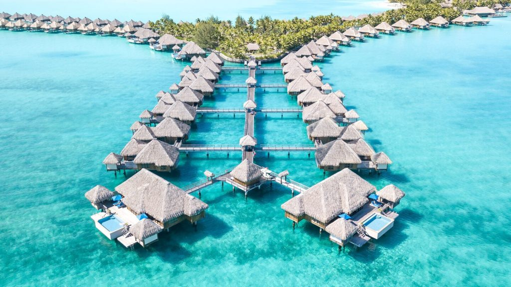 Overwater villas at the St. Regis Bora Bora Resort.