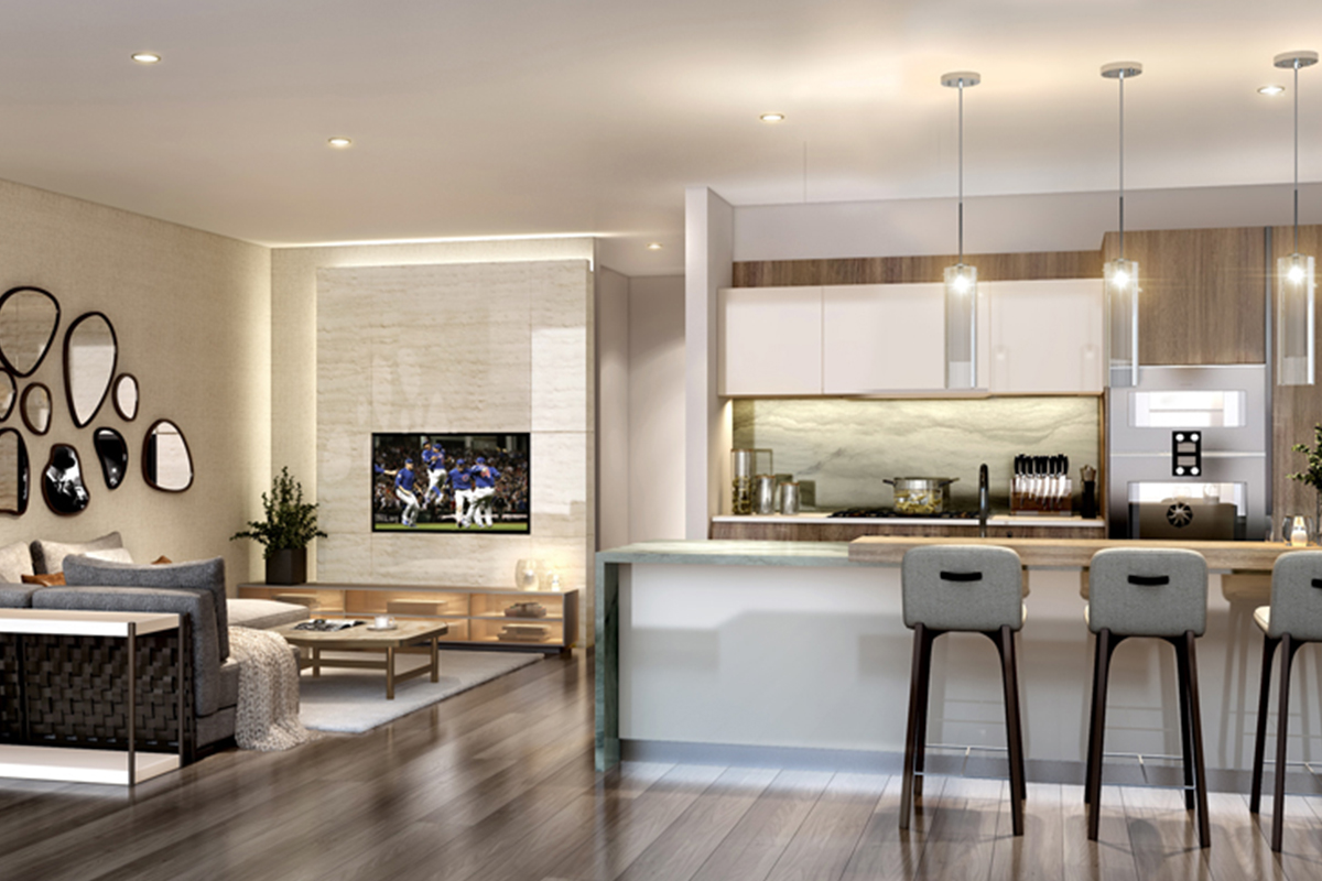 image of a luxury condominium kitchen and living room in The Residences at The St Regis Chicago