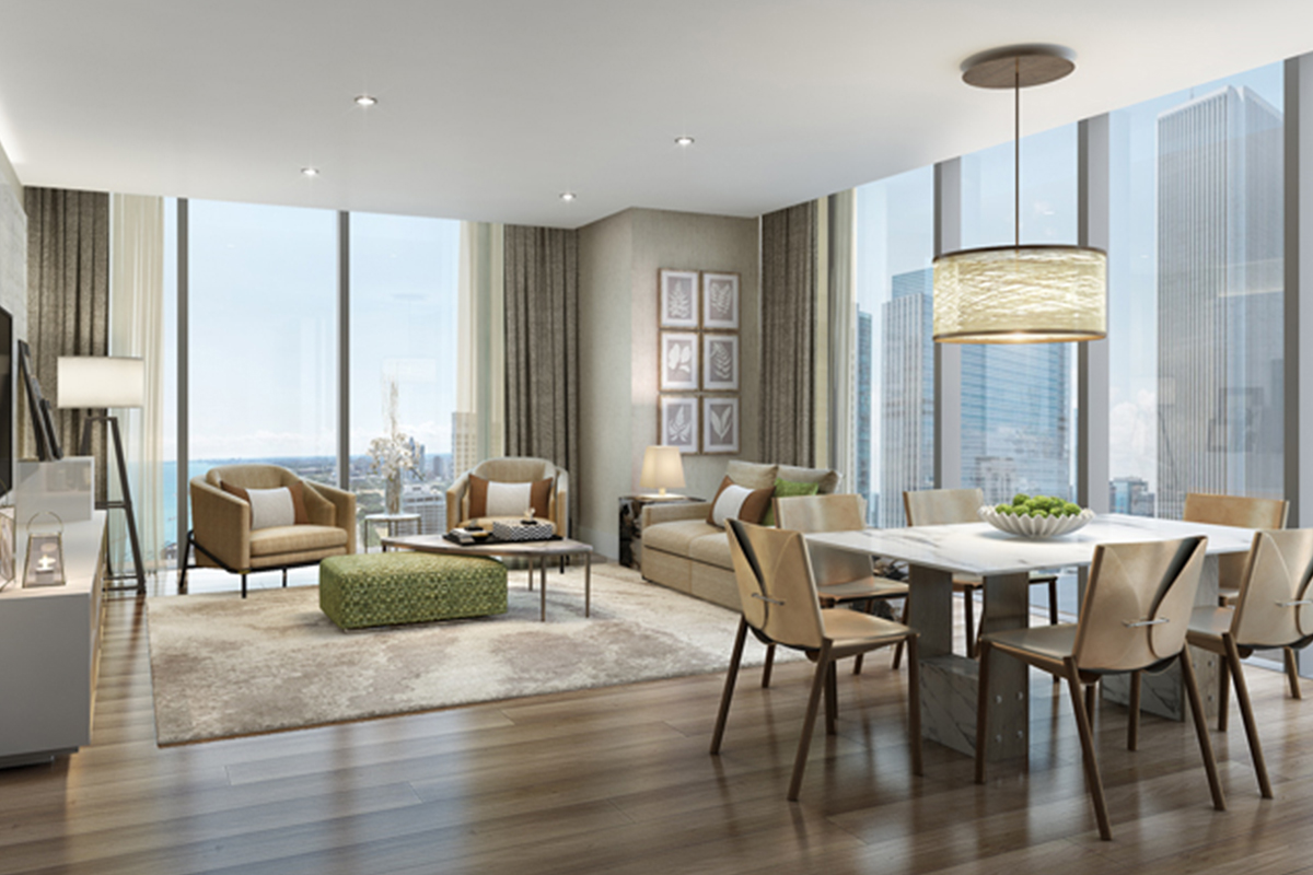 image of a luxury condo living and dining room St Regis Residences Chicago