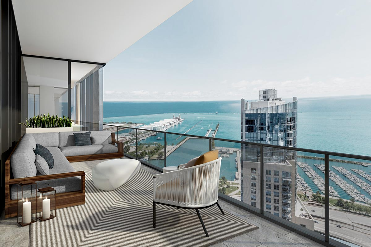 Image of balcony and patio seating in Vista Tower's luxury four bedroom condo