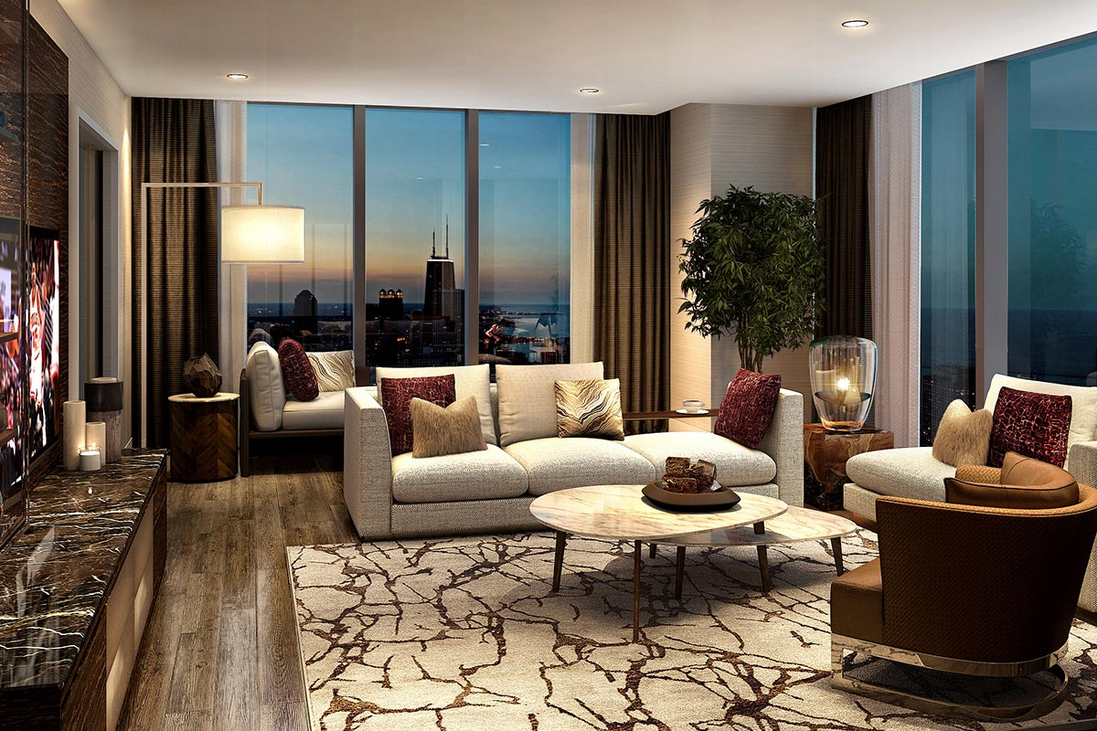 Image of large seating area with floor to ceiling windows in one of Vista Tower's luxury four bedroom condos