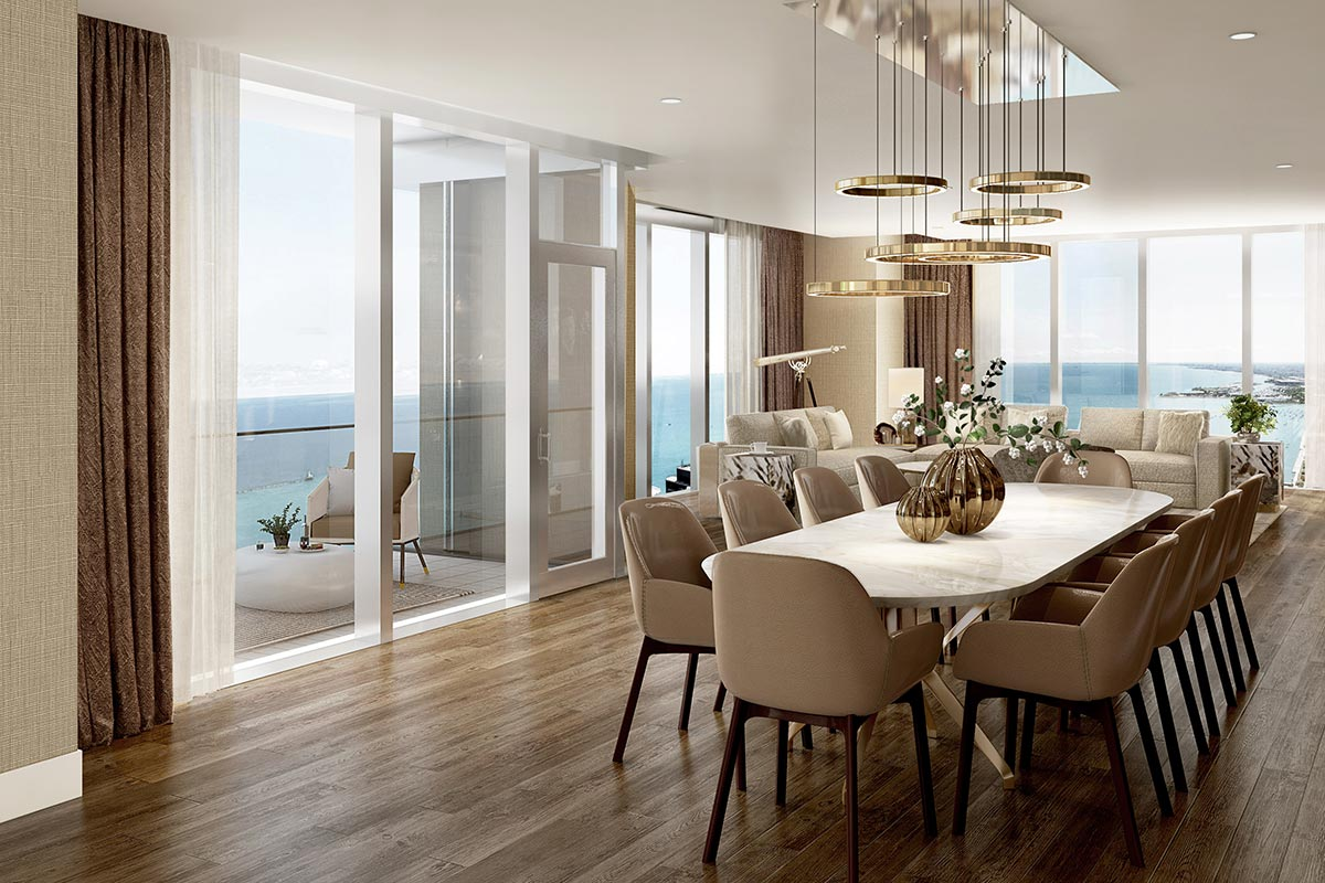 Image of dining room with balcony access in Vista Tower luxury 4 bedroom condo
