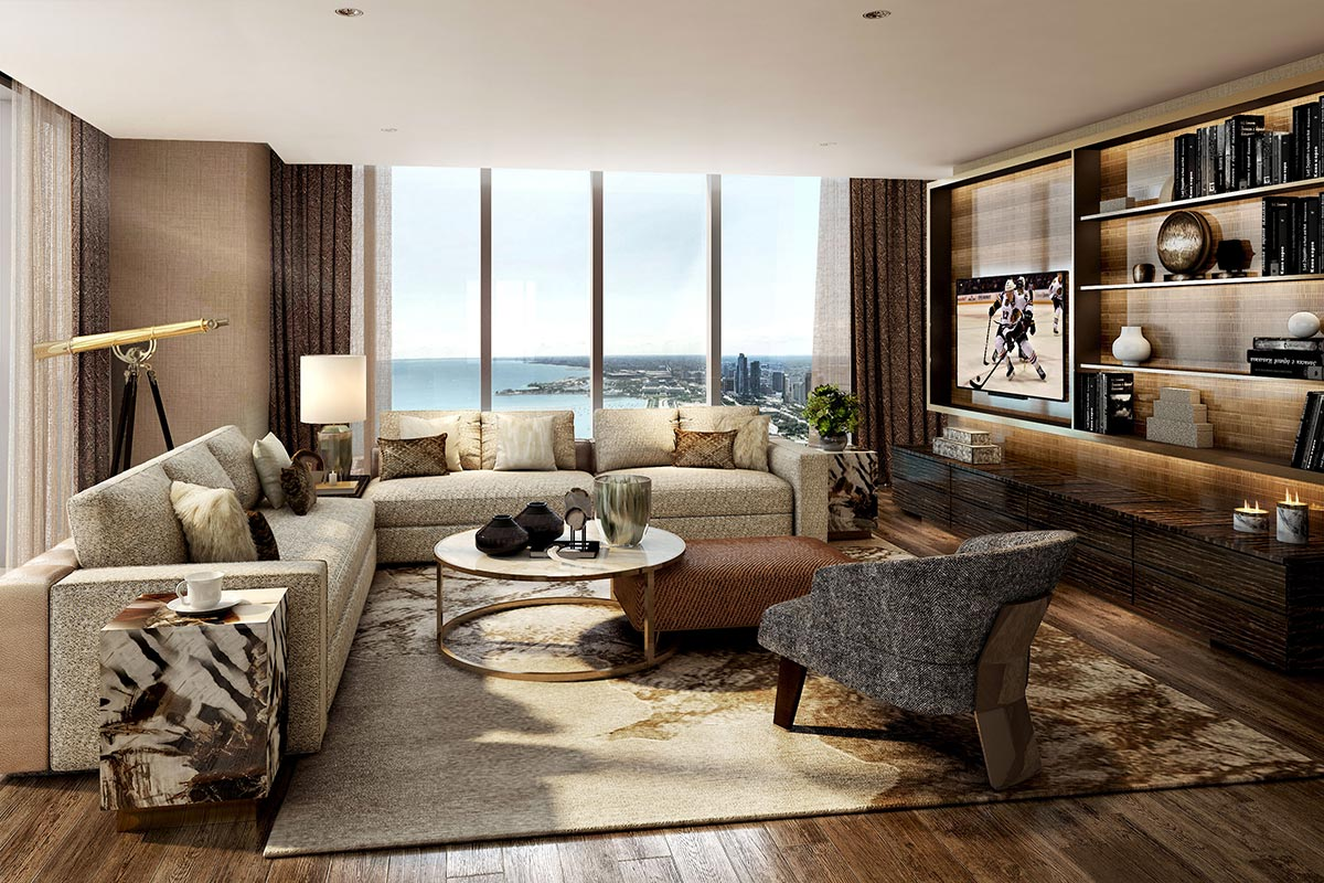 Image of large living room in luxury four bedroom condo in Chicago's Vista Tower