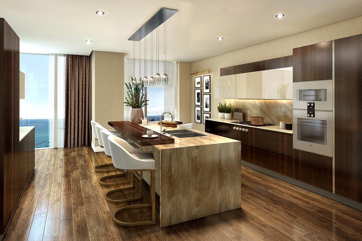 Photo of a modern, open concept kitchen in one of Vista Tower's luxury 4 bedroom condos