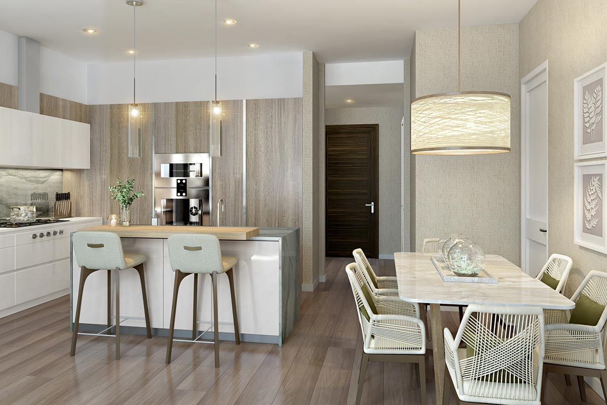 Image of modern kitchen and dining room in 1 bedroom condo in The Residences at The St Regis Chicago