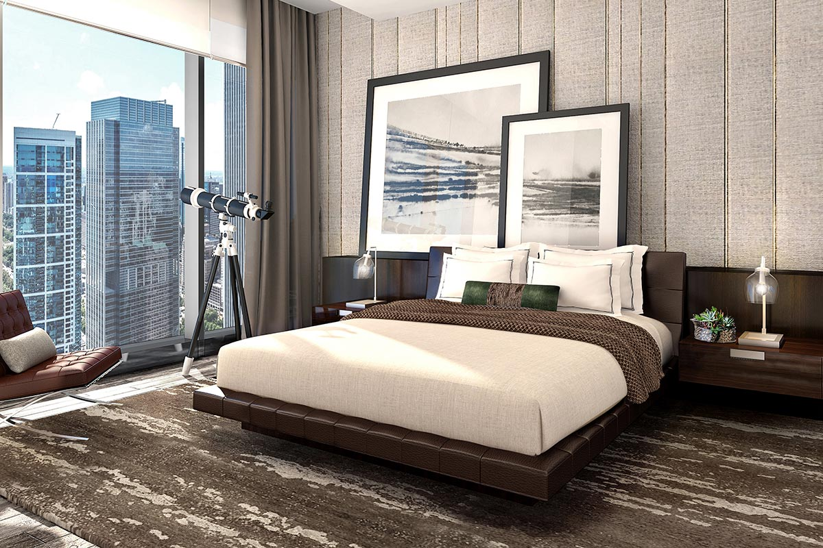 Photo of spacious master bedroom in The Residences at The St Regis Chicago luxury one bedroom condos