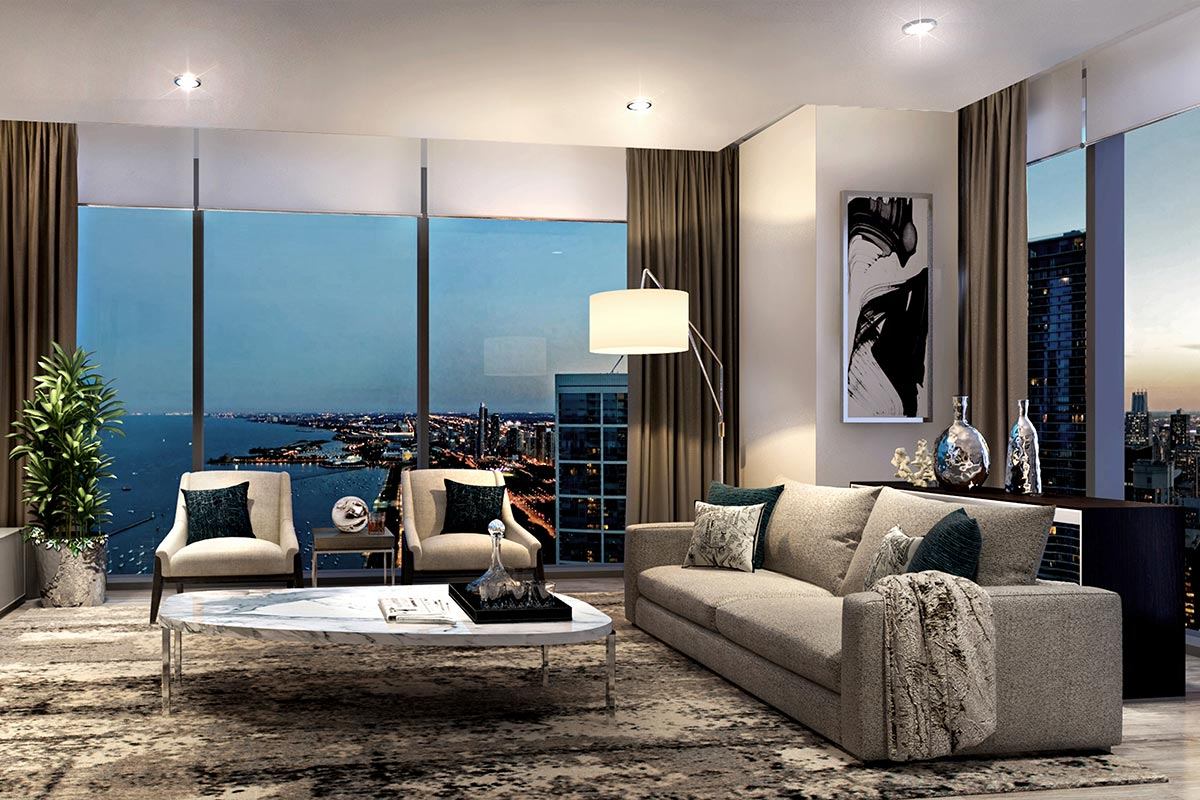 Image of a staged living room in St. Regis Chicago luxury one bedroom condo