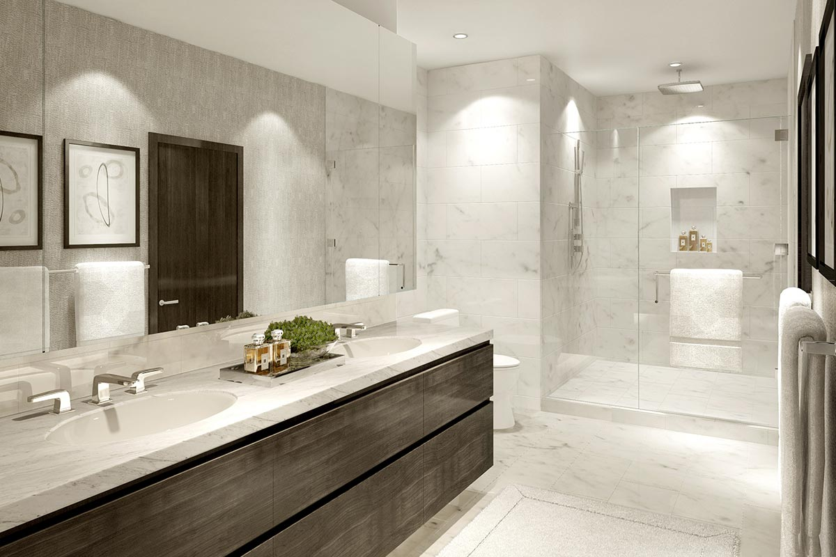 Photo of sleek ensuite bathroom in The Residences at The St. Regis Chicago luxury one bedroom condo