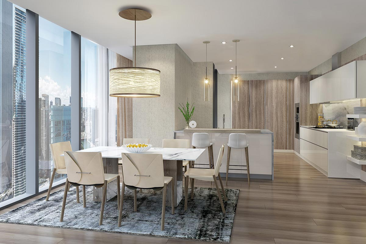 Image of open concept dining room and kitchen in Vista Tower luxury 3 bedroom condo