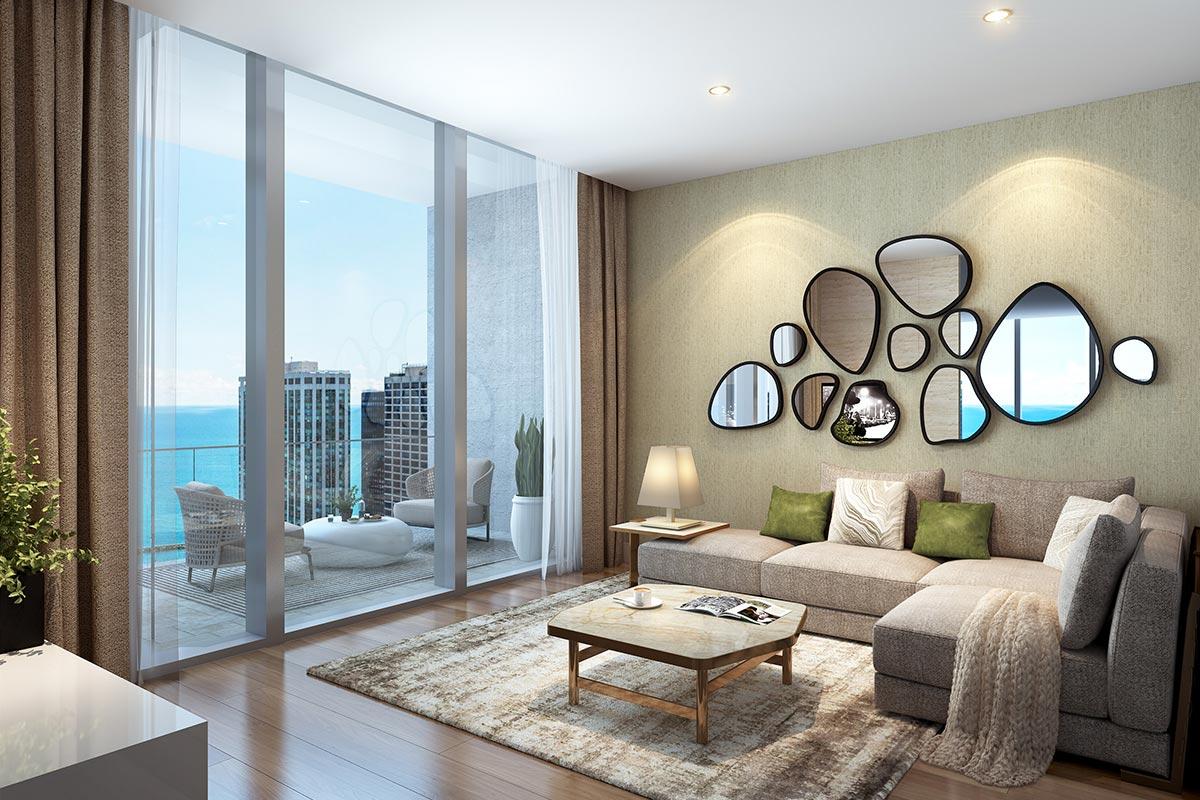 Photo of den with floor to ceiling windows in St Regis Residences Chicago luxury three bedroom condo