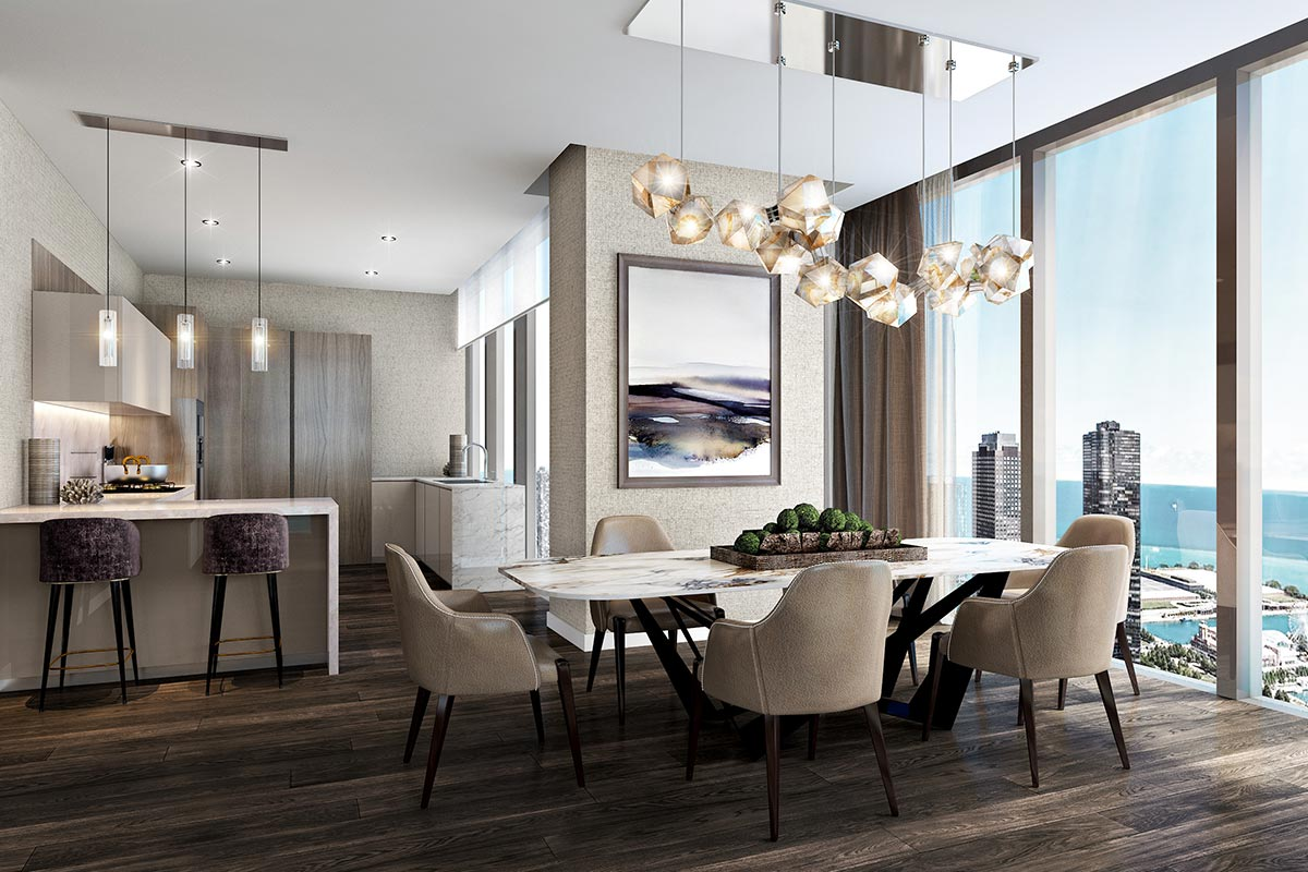 Image of kitchen and dining room in St Regis Residences Chicago luxury 3 bedroom condo