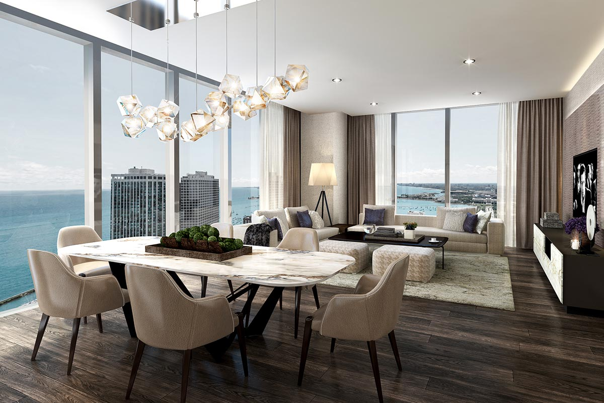 Photo of large dining room and kitchen in St. Regis Chicago luxury three bedroom condo