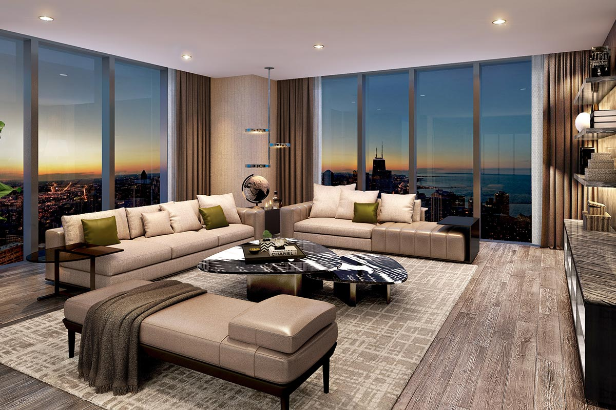 Image of spacious living room in luxury 3 bedroom condo with floor to ceiling windows at St. Regis Residences Chicago