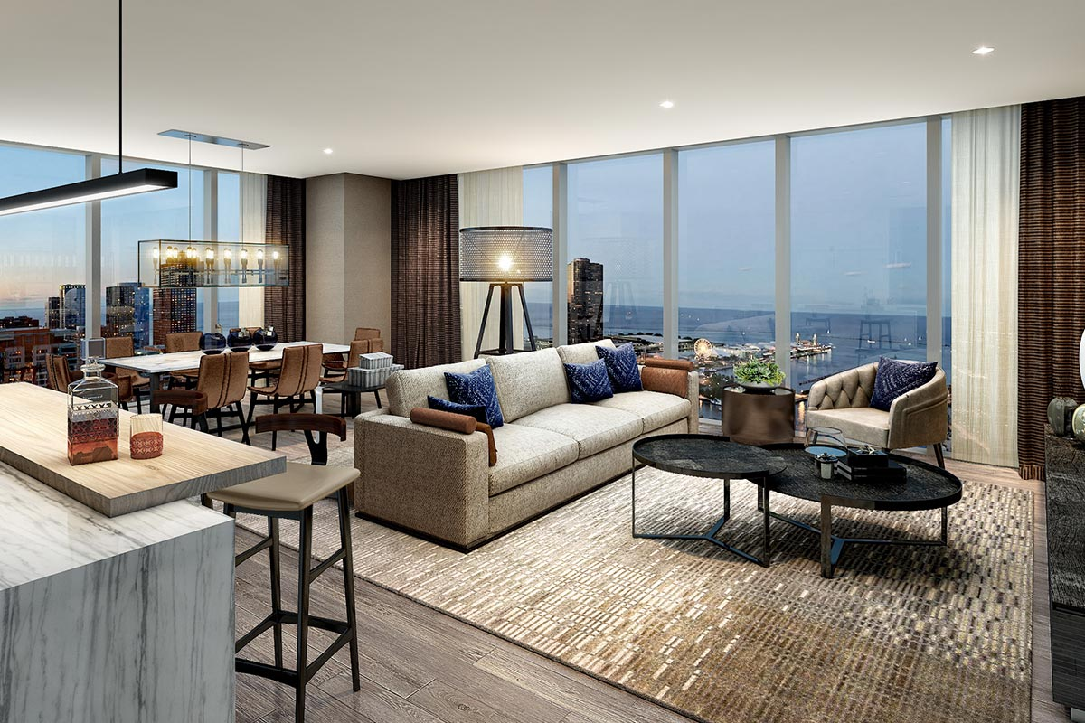 Image of living room and dining room in luxury three bedroom condo in Chicago's St. Regis Residences