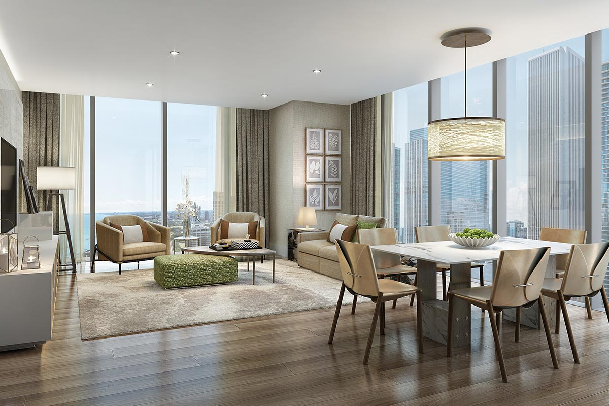 Image of dining room and small seating area in Vista Tower luxury three bedroom condo