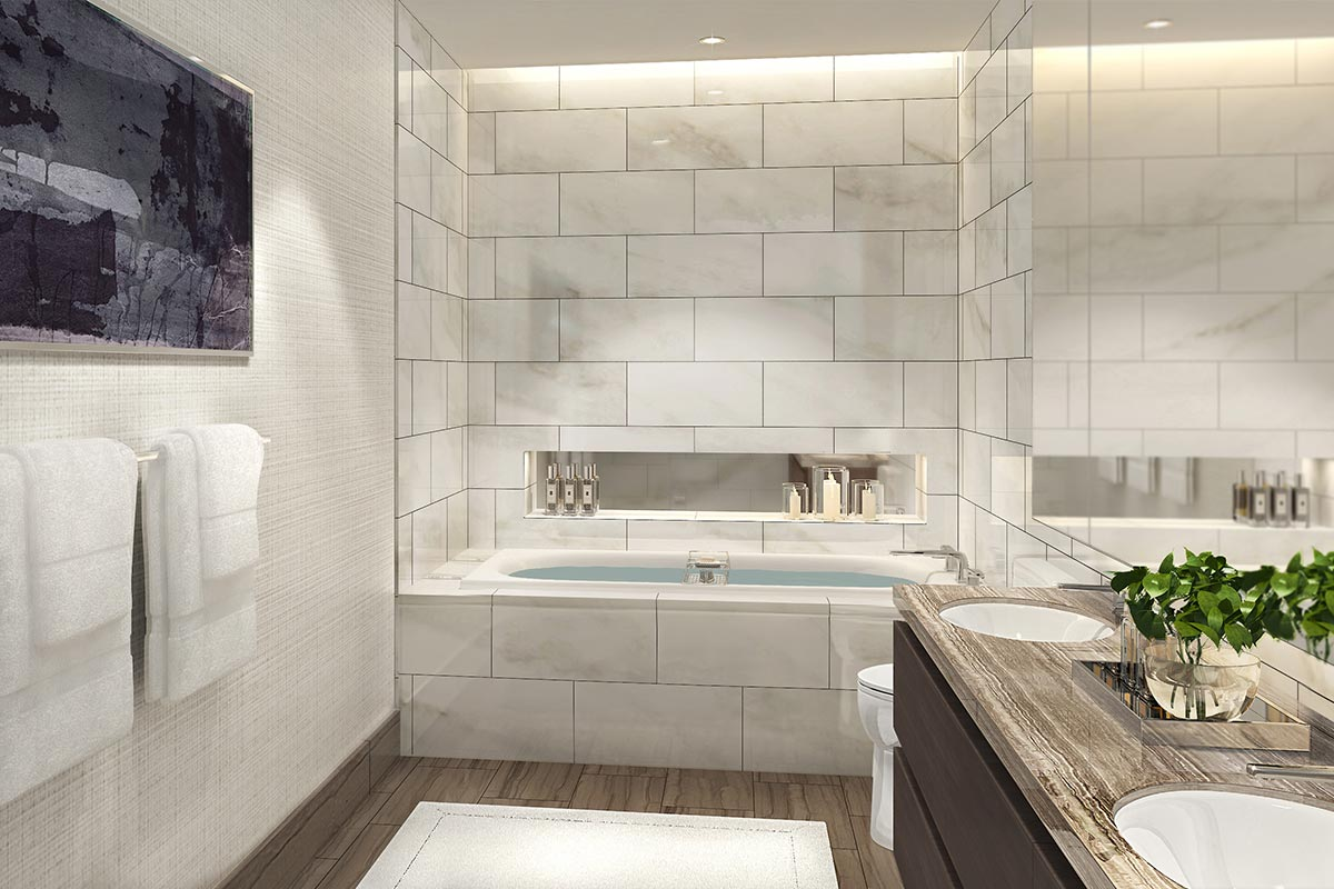 Image of bathtub and bathroom counter top in luxury 3 bedroom condo in St Regis Residences Chicago
