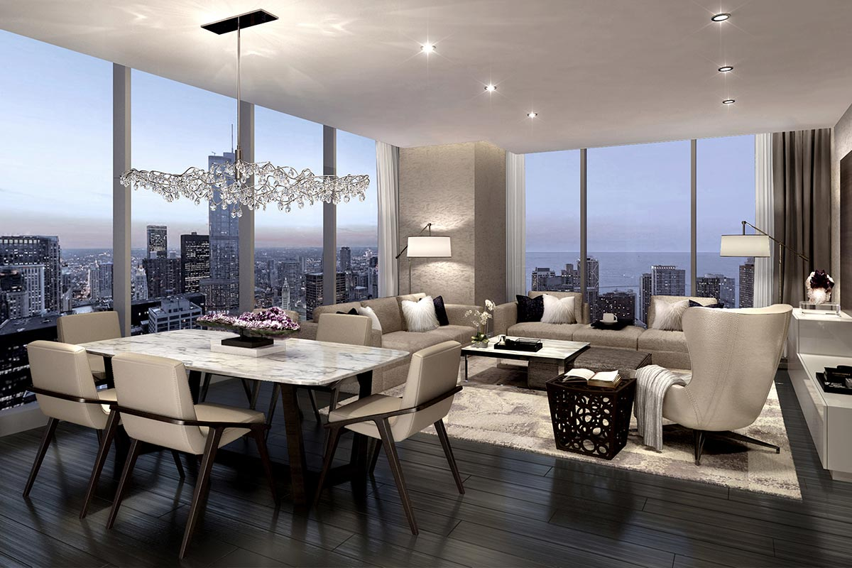 Image of dining room and living room with floor to ceiling windows in luxury 3 bedroom condo in St Regis Residences Chicago