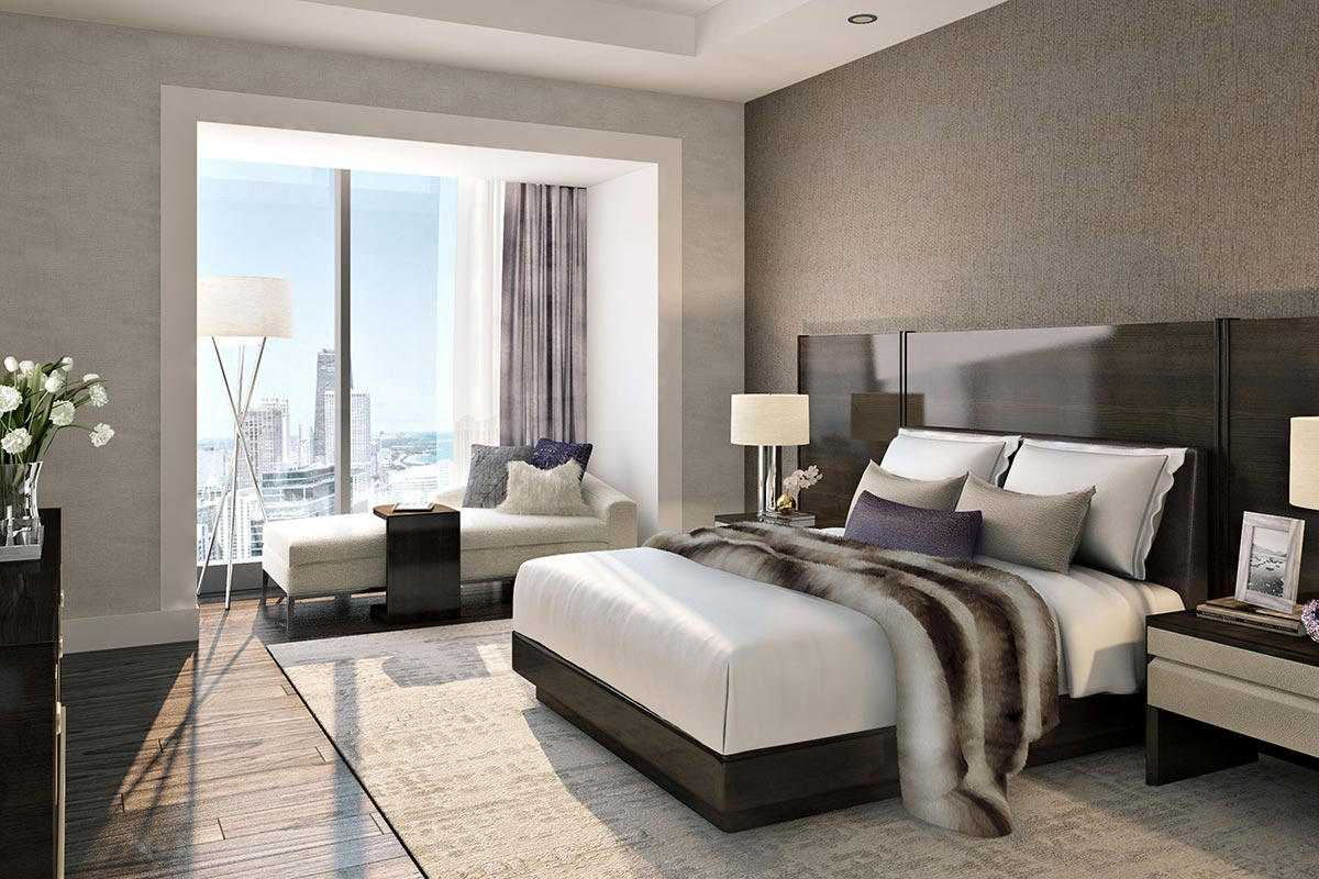 Image of alternative bedroom layout in St Regis Residences Chicago luxury 3 bedroom condo