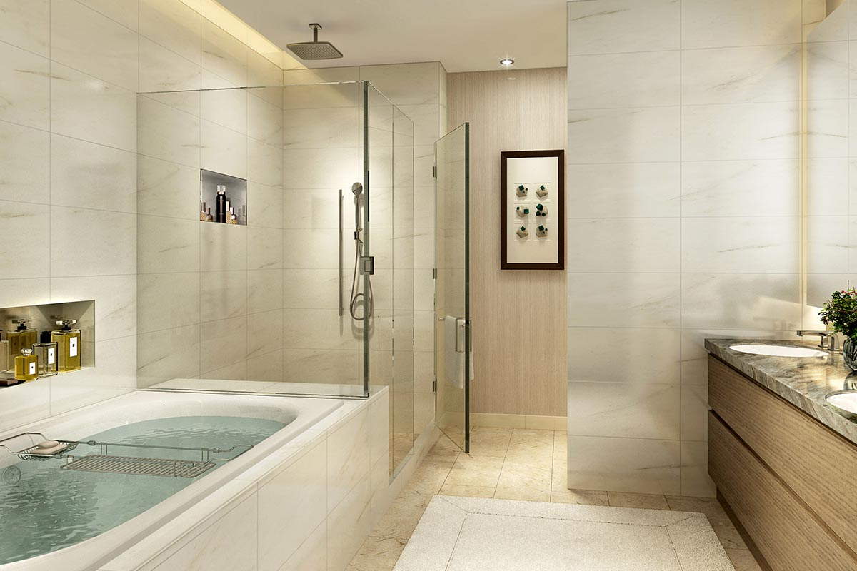 Photo of large ensuite bathroom in a luxury three bedroom condo in St Regis Residences Chicago