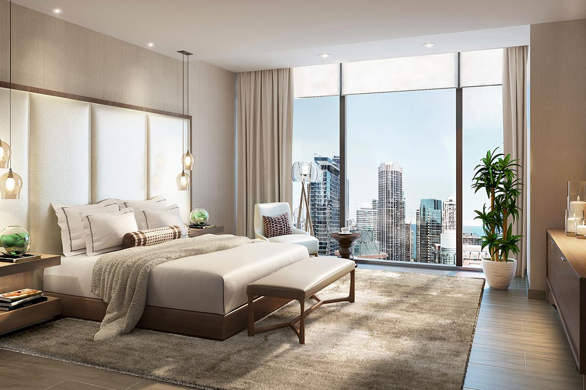 Image of master bedroom in St Regis Residences Chicago luxury three bedroom condo