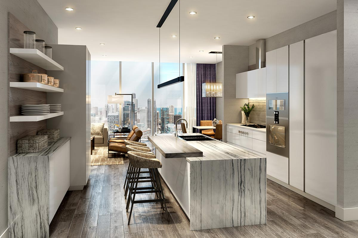 Image of spacious kitchen island with bar stool seats in St Regis Residences Chicago luxury 3 bedroom condo