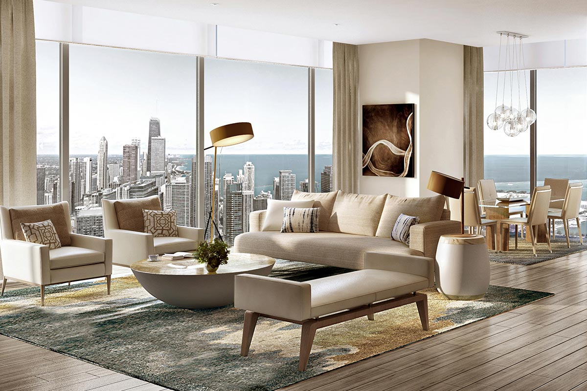 Image of alternative living room layout in St Regis Residences Chicago luxury 3 bedroom condo