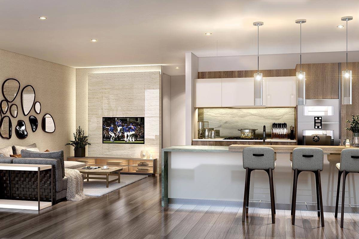 Photo of luxury 2 bedroom condo in The Residences at The St Regis Chicago. Alternative layout with seating area to the right of the kitchen