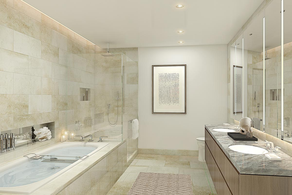 Photo of spacious, modern bathroom in The Residences at The St Regis Chicago luxury two bedroom condo