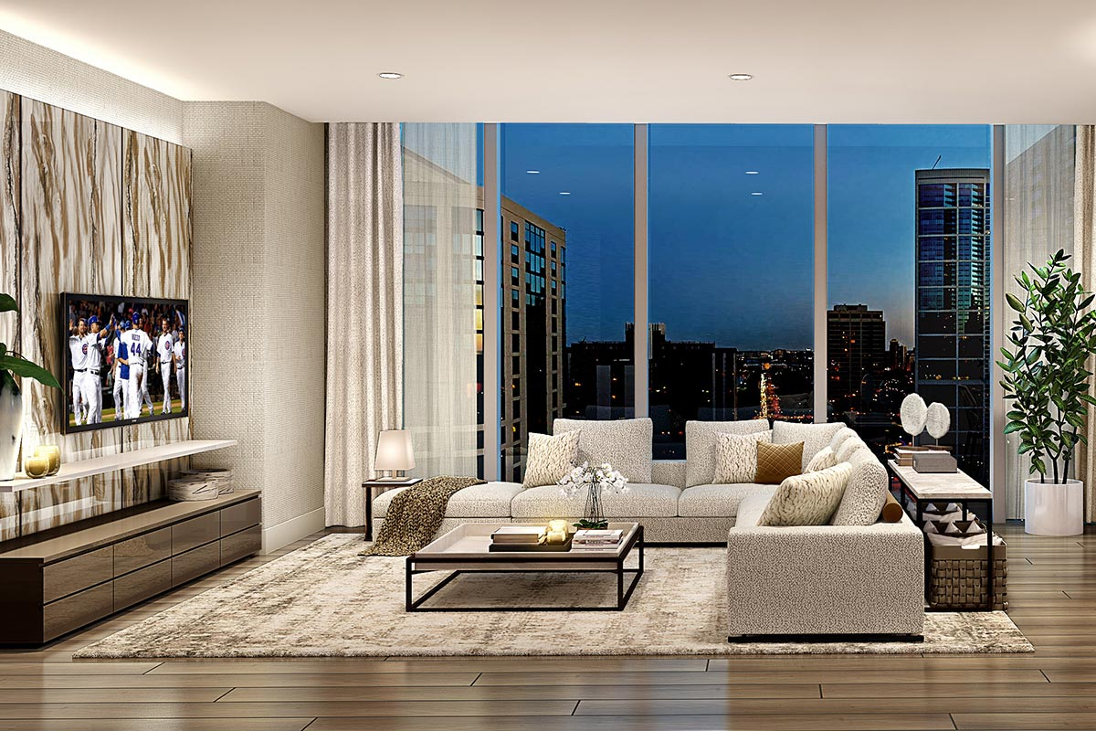Photo of living room in the St. Regis luxury two bedroom condo with floor to ceiling windows and view of downtown Chicago