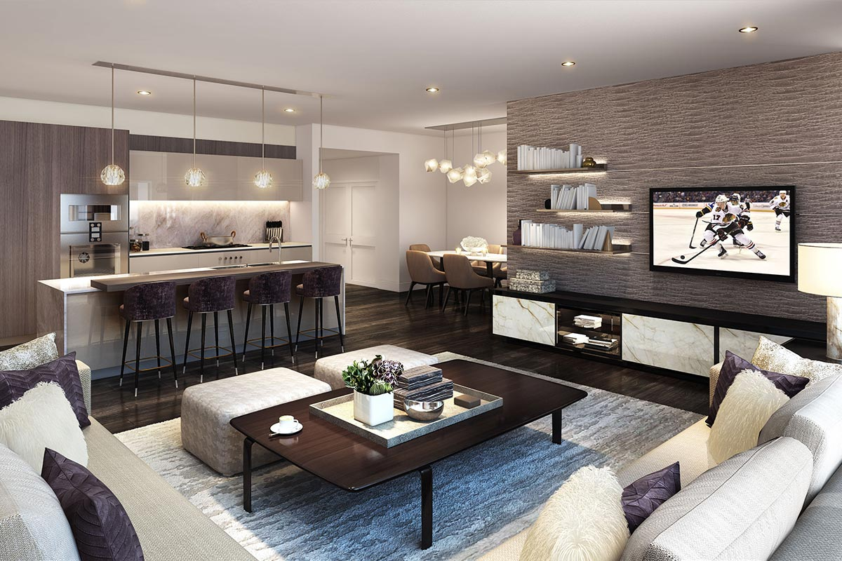 Image of open concept living room and kitchen in a luxury 2 bedroom condo in Chicago's St. Regis Residences