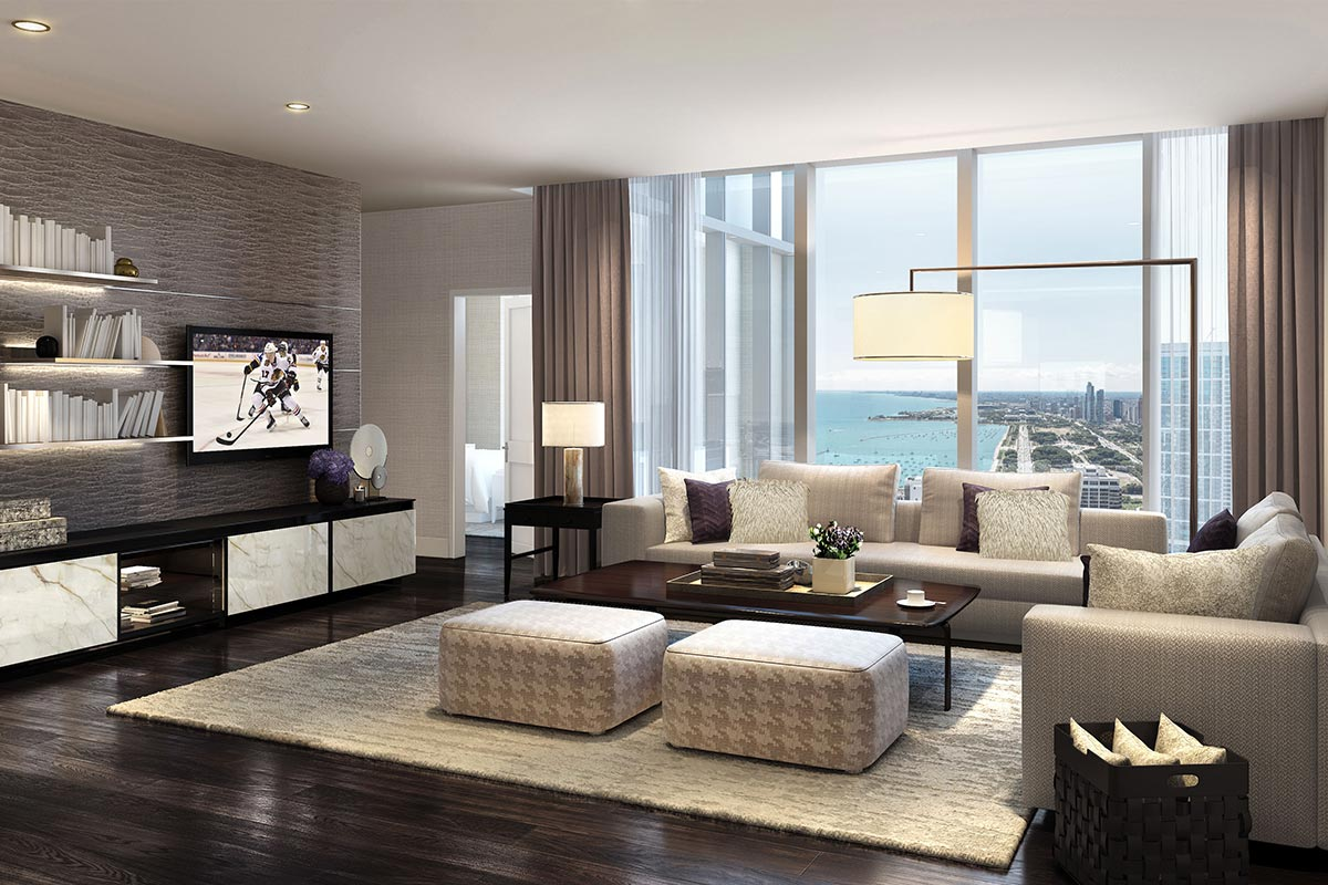 Image of modern living room in luxury two bedroom condo in The Residences at The St Regis Chicago