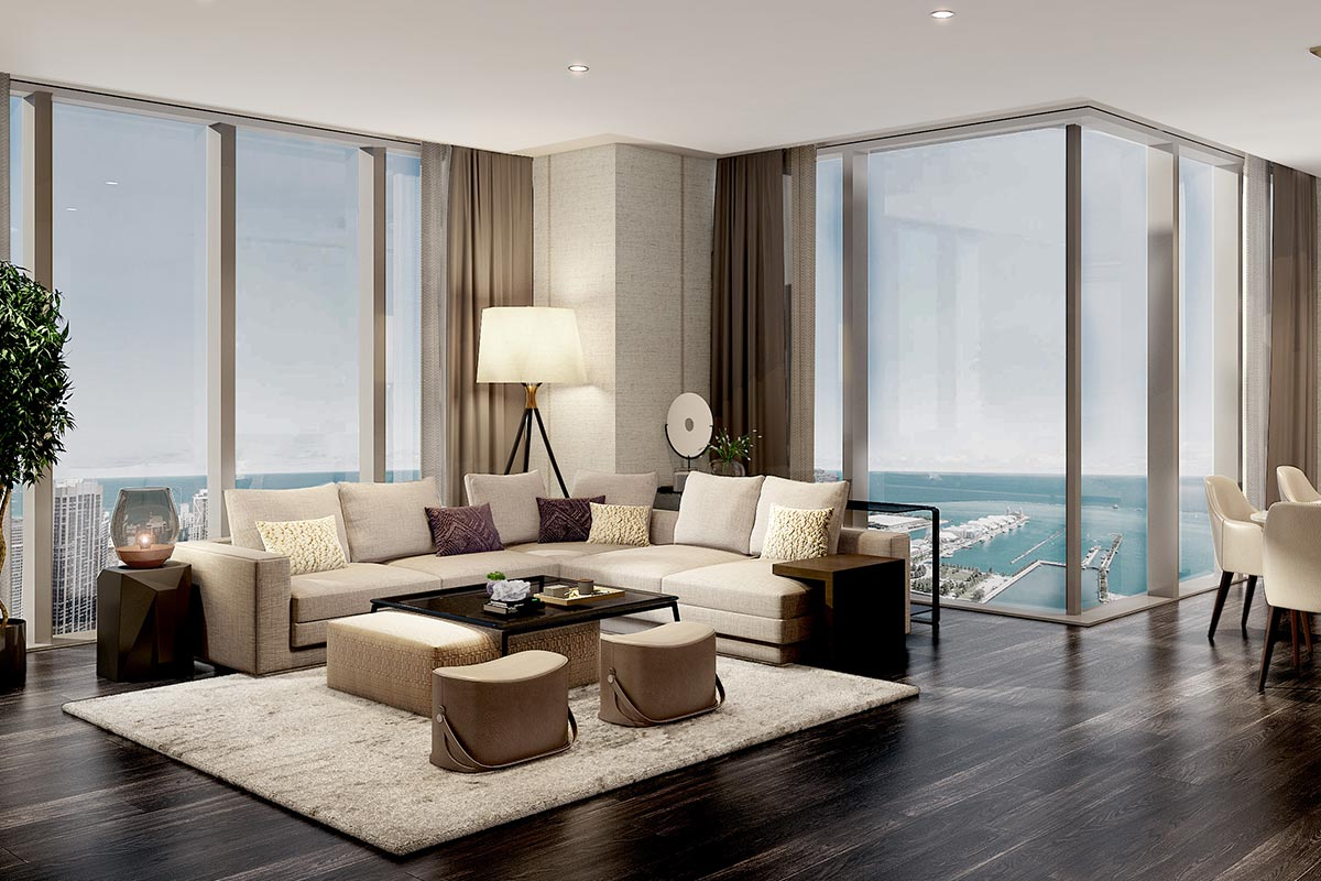 Residences at The St Regis Chicago living room in luxury condo overlooking Lake Michigan
